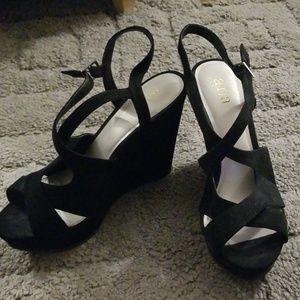Black faux suede wedge